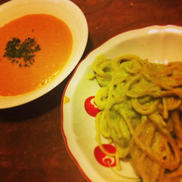 "Atsushi made weekend dinner. "" EDAMAME Pasta & Tomato Potage""."
