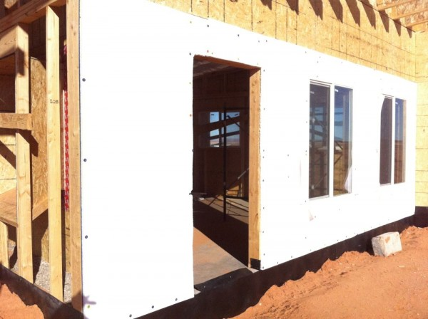Only east wall is not strawbale wall. We made wood flame and put insulation.