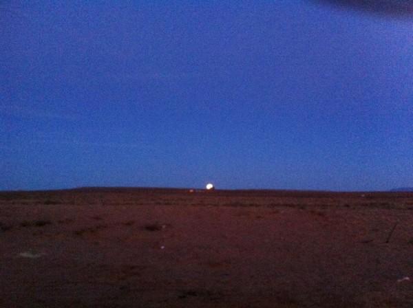 "Full moon rise from ""Rabbit Ear ""."