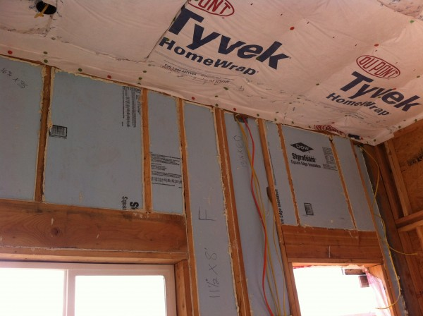 East wall insulation. We didn't use straw-bales only for this wall.