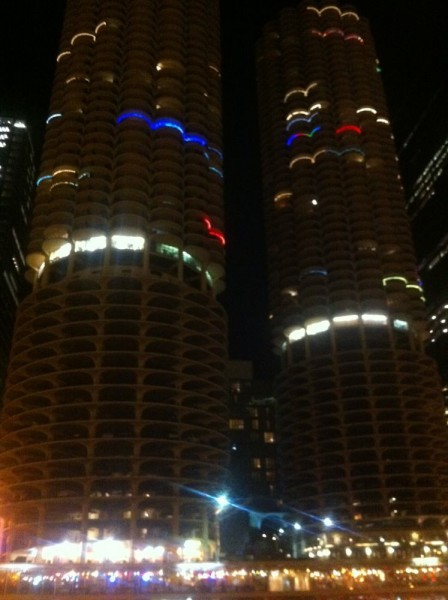 "Outline of ""Marina City Towers"""