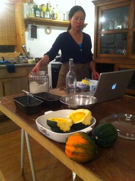 making pumpkin baked cake!