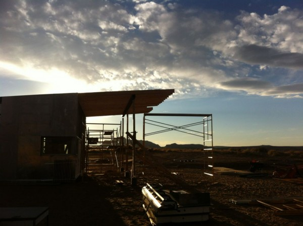Sunset at the site. The days are short now.