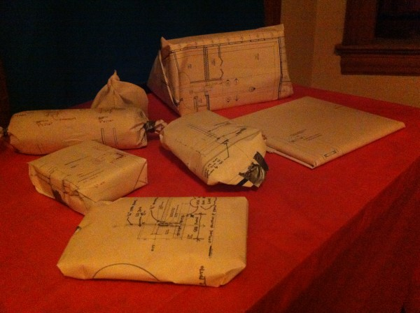 And gifts which wrapped with construction documents.