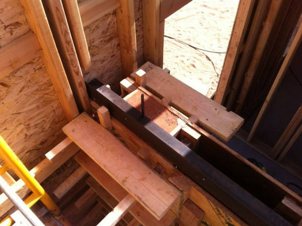 install the steel hardware as hidden structure