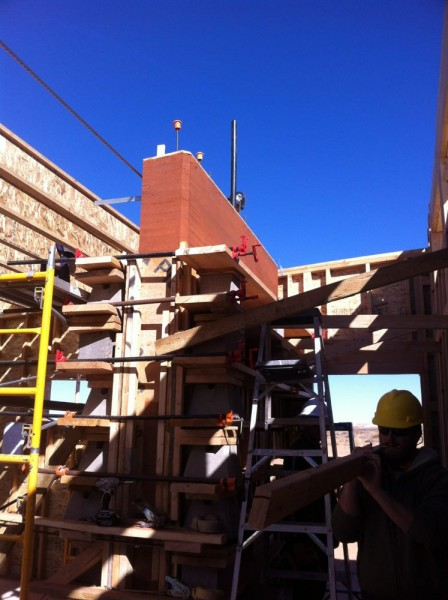 taking off the rammed earth form