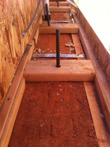 top of the rammed earth wall