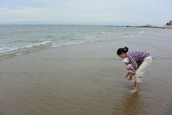 first step to the Pacific Ocean at Noma beach, Aichi.